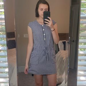 blue gingham short sleeve dress